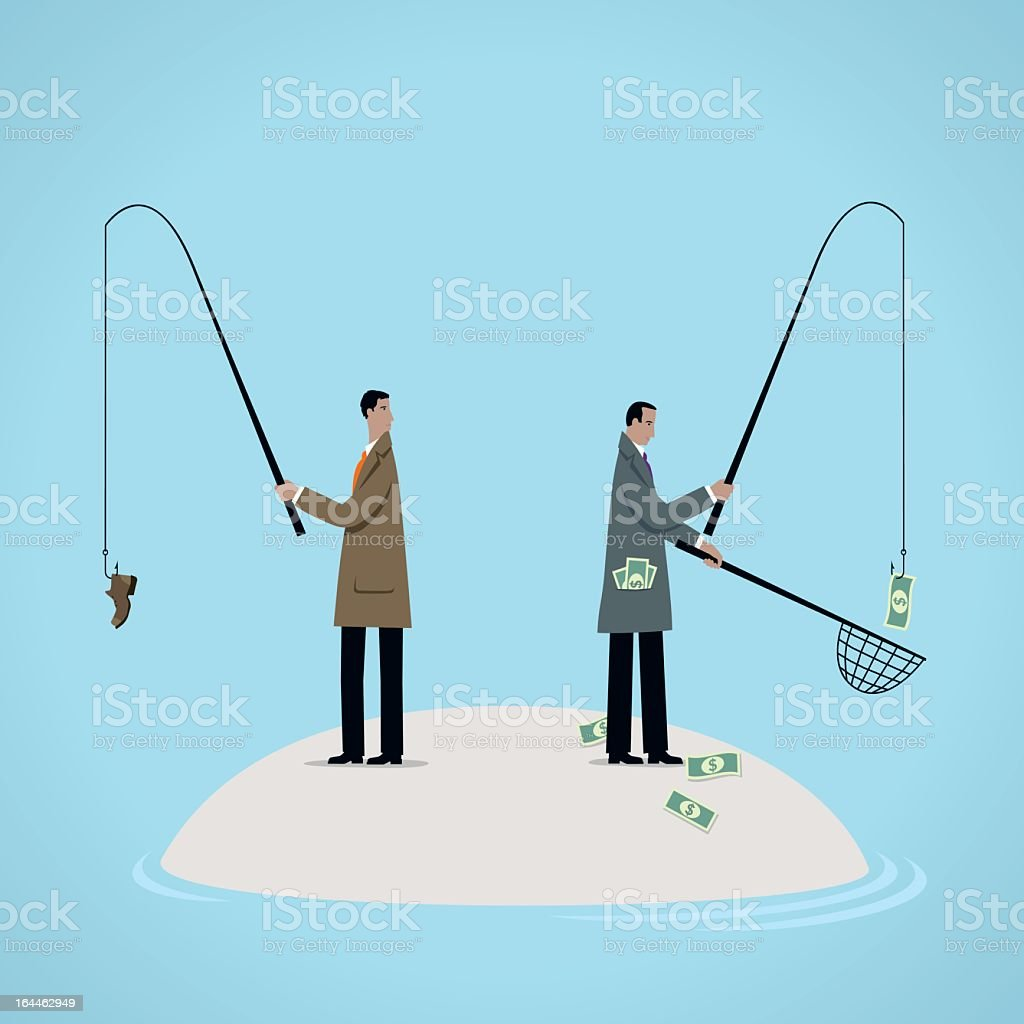 An illustration concept of fishing for dollars vector art illustration