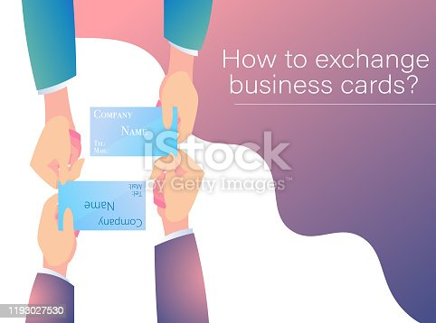 An illustration created by isometric projection of a salesman exchanging business cards with both hands.Banner version.