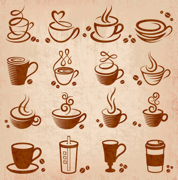 An illustration design of a coffee grunge icons Coffee Grunge Icons irish coffee stock illustrations
