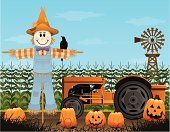Spend some time on the farm this fall with a scarecrow and pumpkin patch with plenty of copyspace!