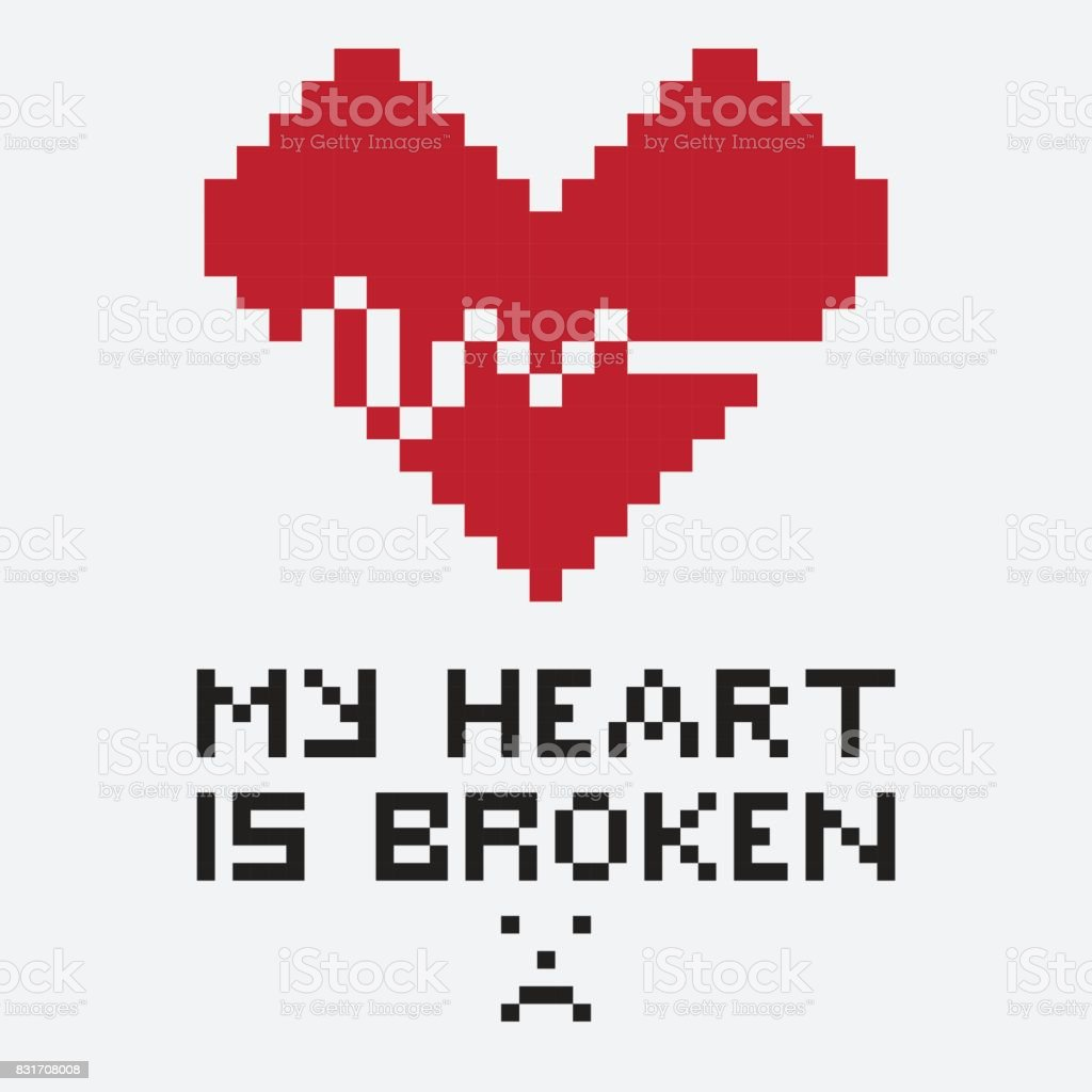 An illustration in the form of a pixelated broken heart whose an illustration in the form of a pixelated broken heart whose crack looks like a buycottarizona