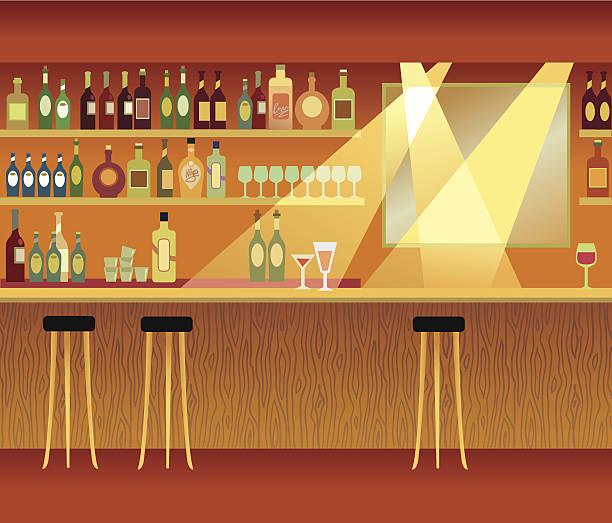 An illustration of a bar with spot lights vector art illustration