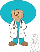 Illustration of a brown bear wearing a lab coat and scrubs. EPS 10 format with transparencies.