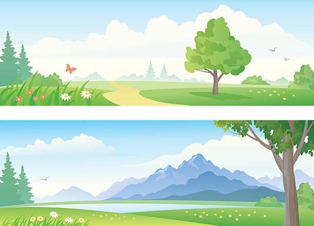 風景のバナー ベクターアートイラスト