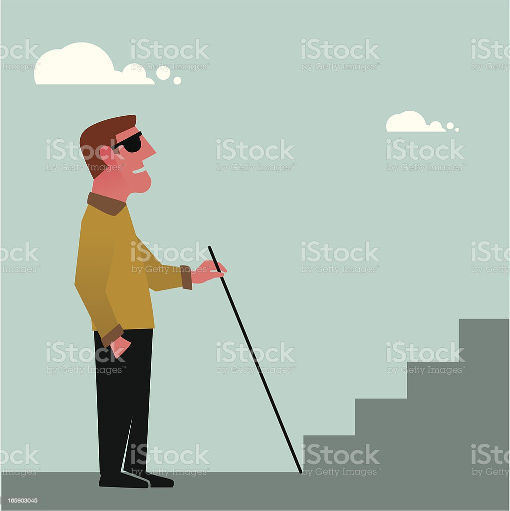 An illustration of a blind man with a walking cane vector art illustration