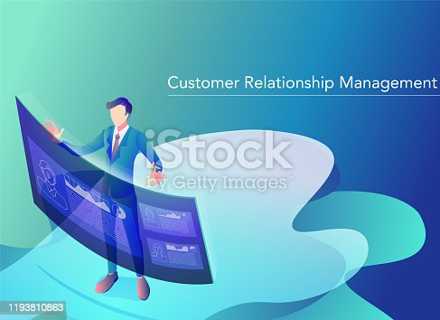 1054713428 istock photo An illustration of a businessman who operates a customer management system on a virtual display.Banner version. 1193810863