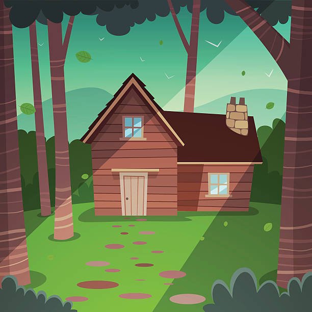 an illustration of a cabin in the woods - log cabin stock illustrations, clip art, cartoons, & icons