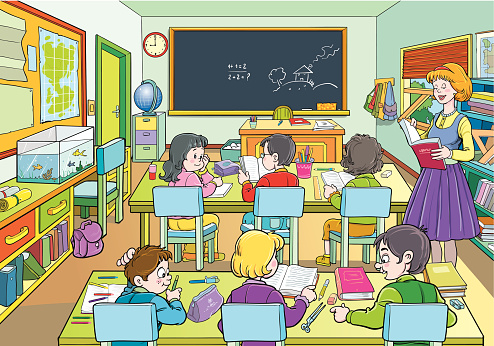 An illustration of a cartoon class room with six pupils