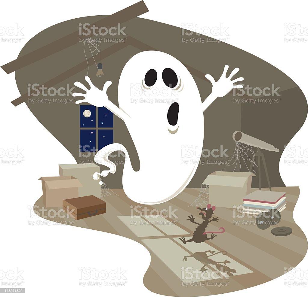 An illustration of a cartoon ghost vector art illustration
