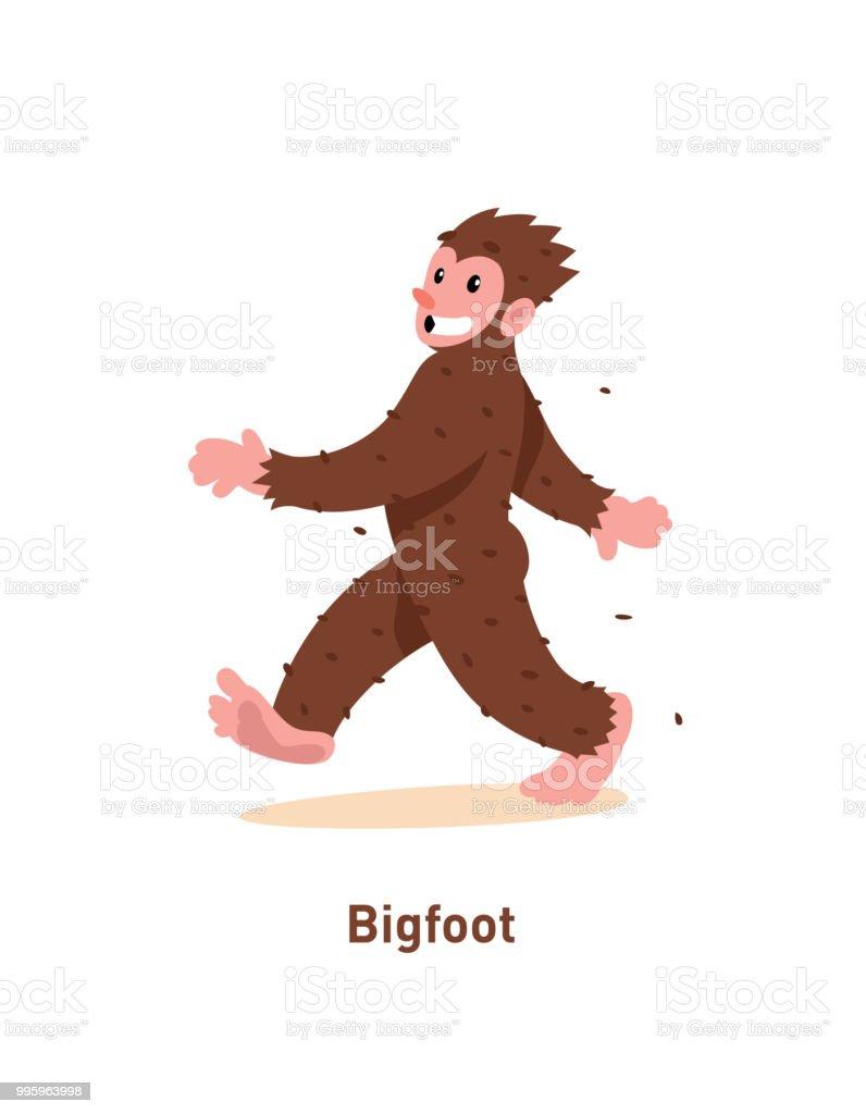 Ein Beispiel Für Eine Karikatur Nette Bigfoot Vektorillustration