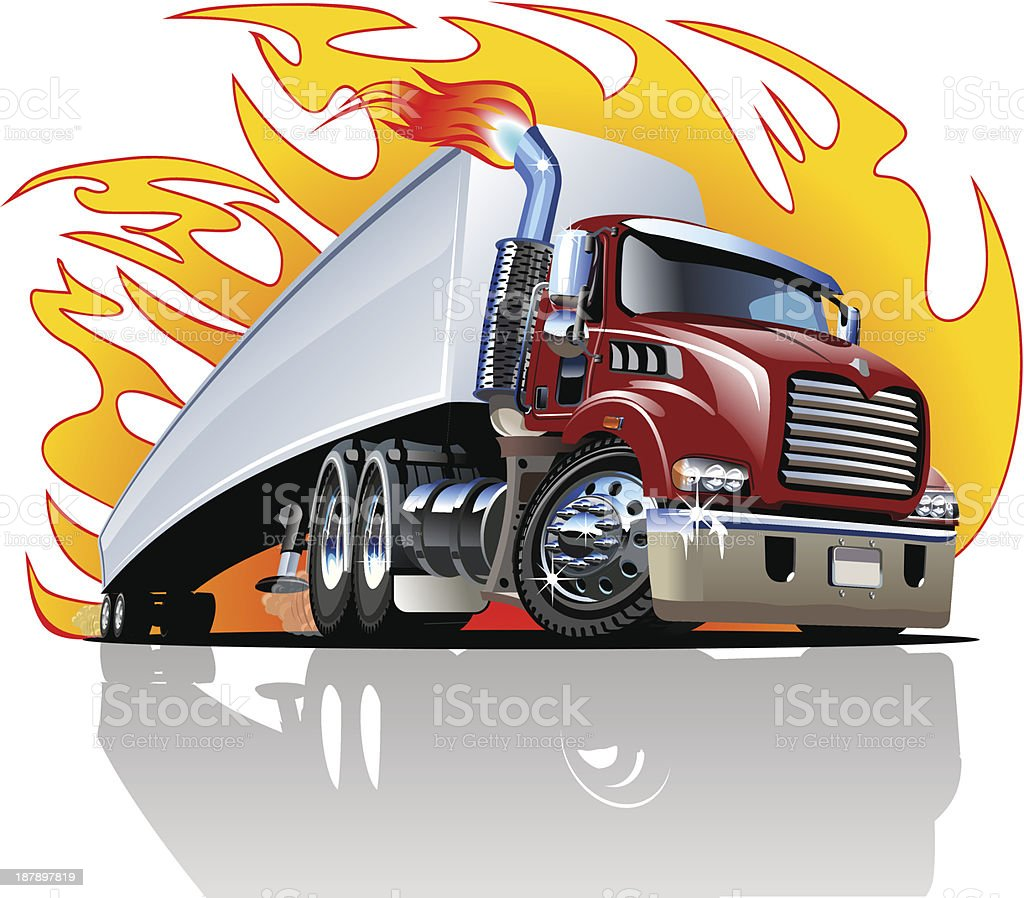 An illustration of a cartoon semi truck vector art illustration