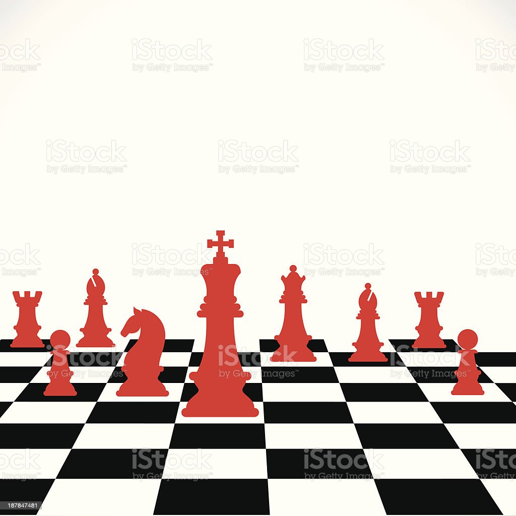 An illustration of a chess board with red pieces vector art illustration