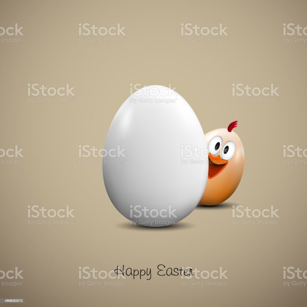 An illustration of a chicken and an egg for Easter vector art illustration