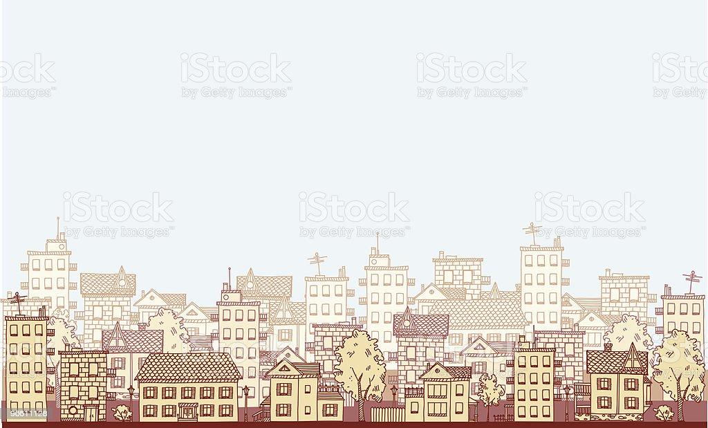 An illustration of a cityscape in varying shades of beige - Royaltyfri Arkitektur vektorgrafik
