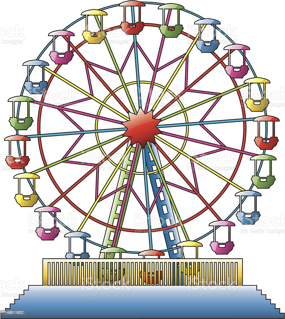 An illustration of a colorful ferris wheel royalty-free stock vector art