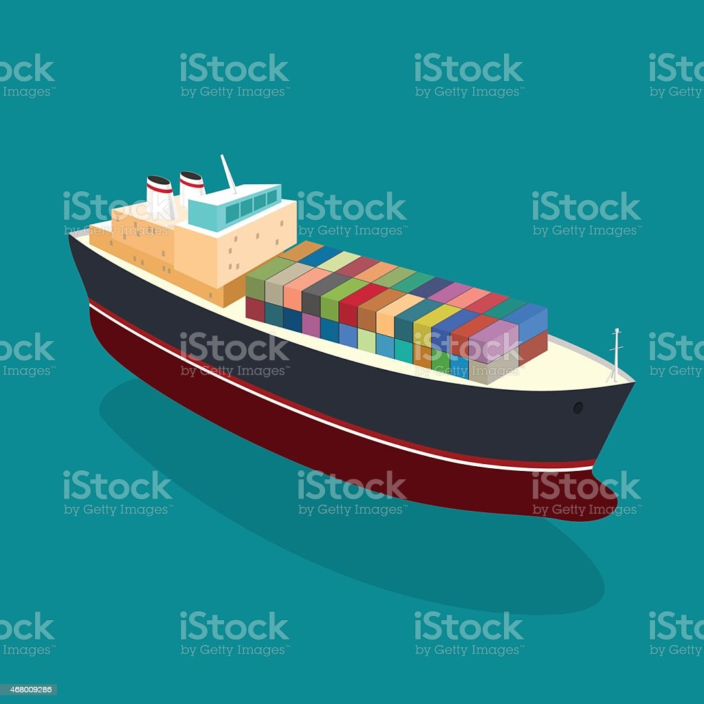 An illustration of a container ship from above vector art illustration