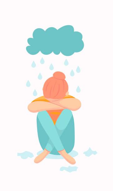 stockillustraties, clipart, cartoons en iconen met een illustratie van een depressief persoon zittend op de vloer. geestelijke gezondheid, met inbegrip van ptss en zelfmoordpreventie - zelfmoord