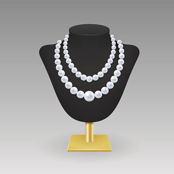 bildbanksillustrationer, clip art samt tecknat material och ikoner med an illustration of a double pearl necklace on a stand - chain studio