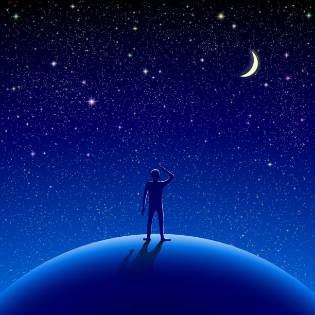 An illustration of a figure looking at the stars at night A man stood watching the starry sky. dreamlike stock illustrations