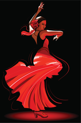 An illustration of a flamenco dancer wearing red