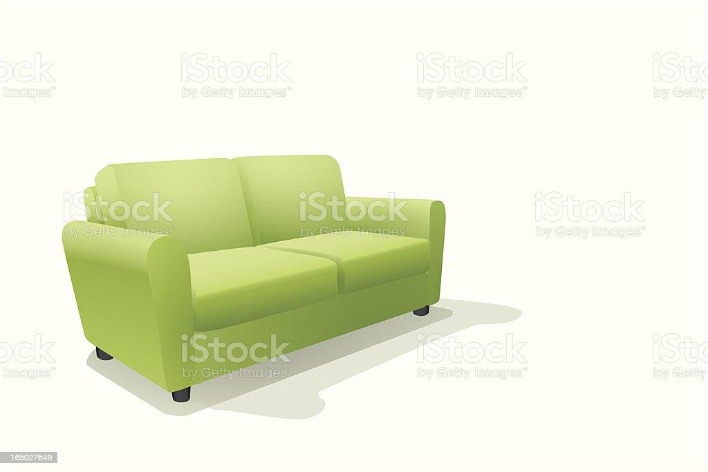 An illustration of a green sofa