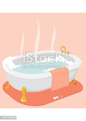istock An illustration of a hot bath tub with pink towel  121117515