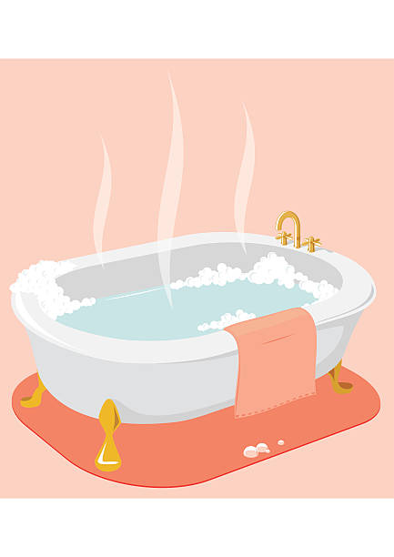 An illustration of a hot bath tub with pink towel  vector art illustration