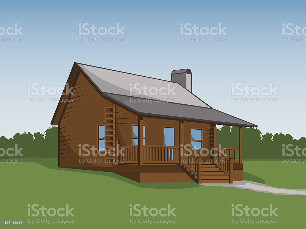 An illustration of a log cabin royalty-free an illustration of a log cabin stock vector art & more images of blue