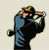 An illustration of a man performing a golf swing