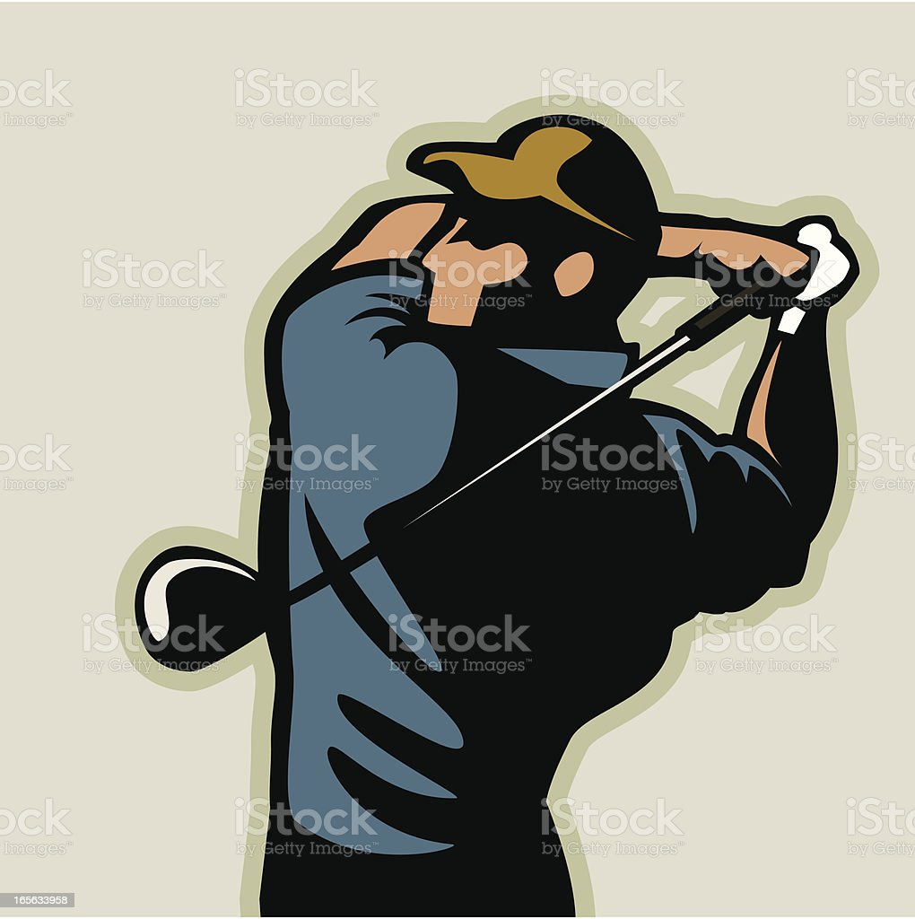 An illustration of a man performing a golf swing vector art illustration
