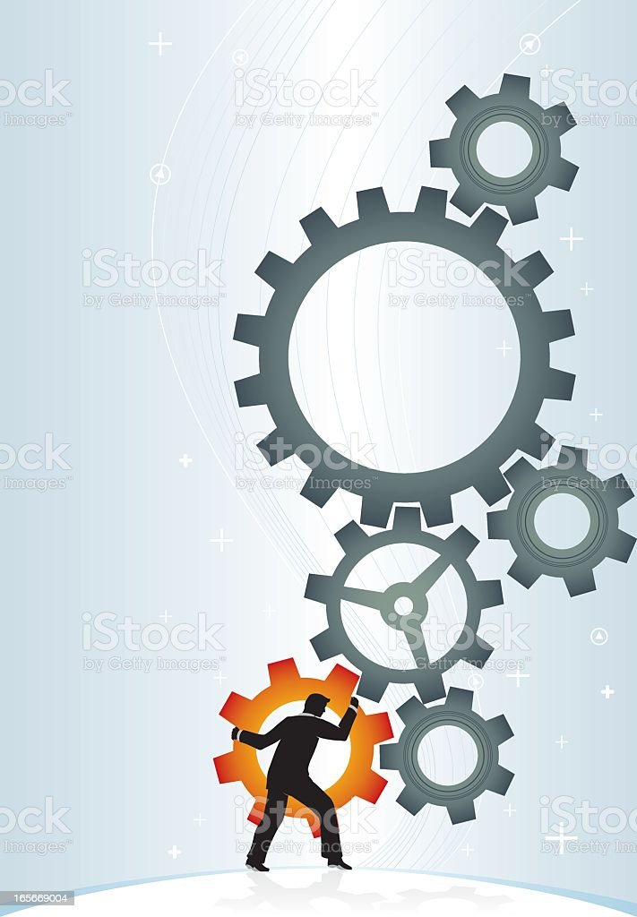 An illustration of a man rotating gears movement concept royalty-free stock vector art