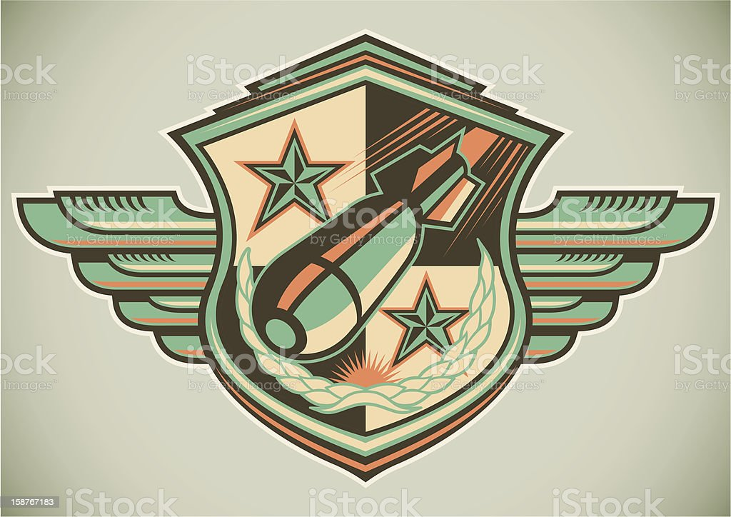 An illustration of a military crest vector art illustration