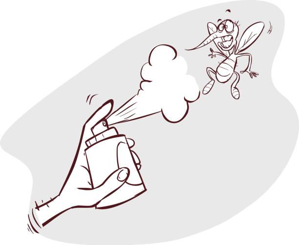 ein beispiel für eine mücke wird hit spray - mückenfalle stock-grafiken, -clipart, -cartoons und -symbole