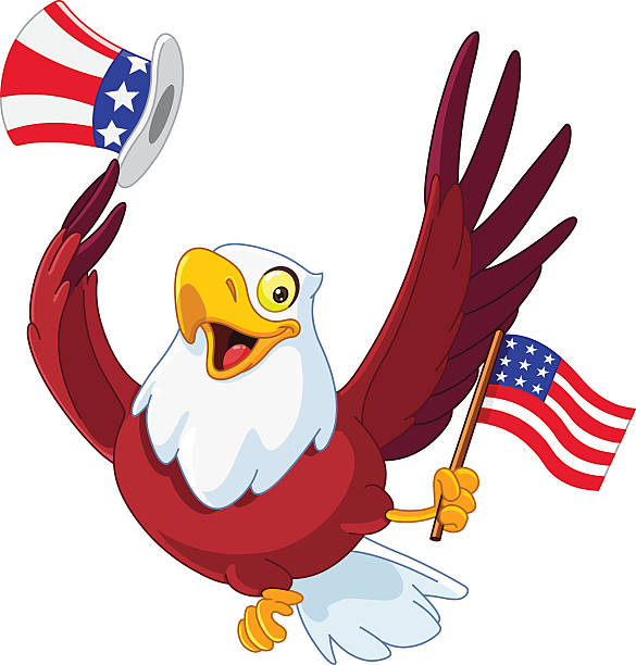 an illustration of a patriotic american eagle - eagle character stock illustrations, clip art, cartoons, & icons