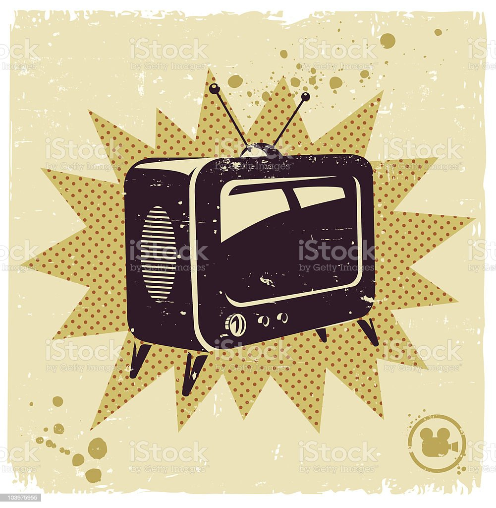 An illustration of a retro television royalty-free an illustration of a retro television stock vector art & more images of analog