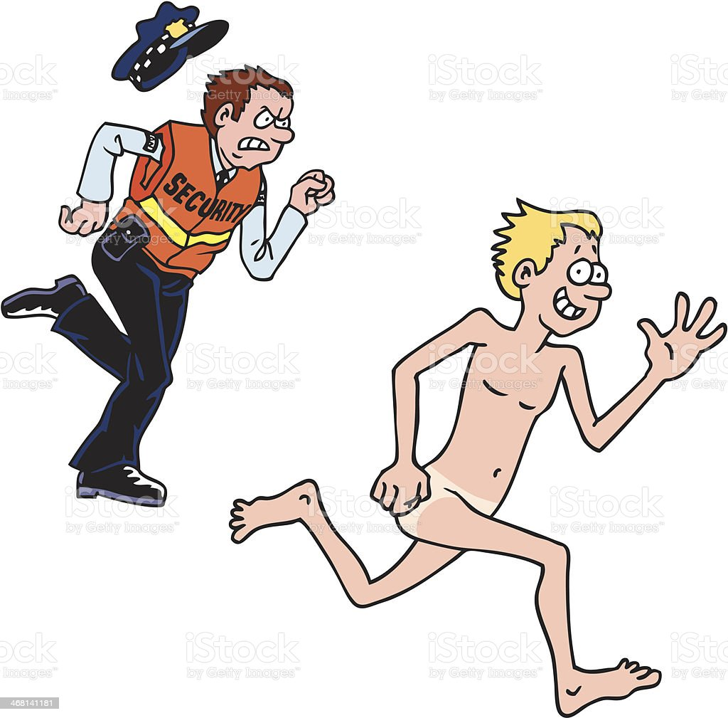 An illustration of a security officer chasing a naked man vector art illustration