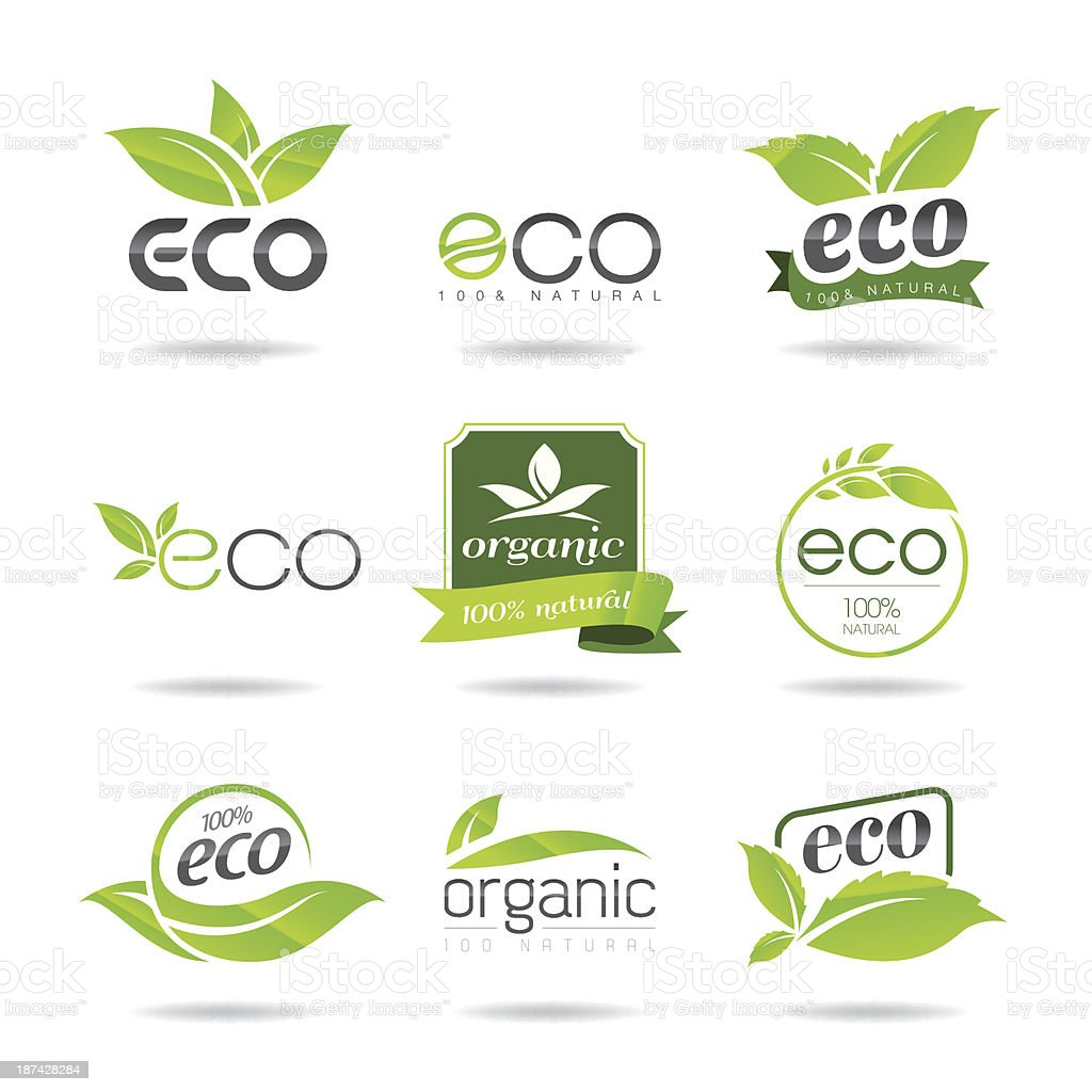 An illustration of a set of green Eco icons on a white back vector art illustration