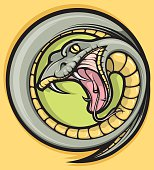 An illustration of a snake with big fangs