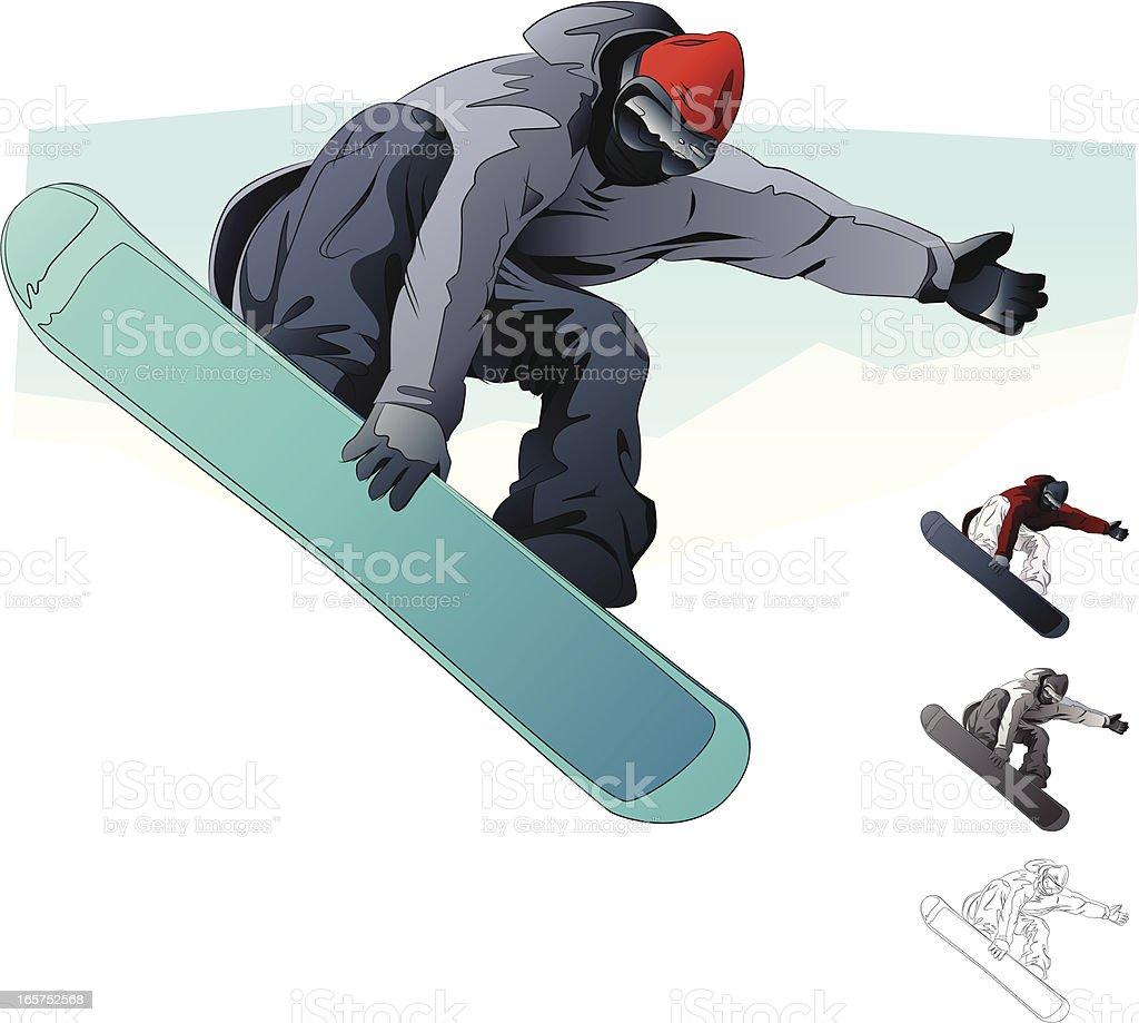 An illustration of a snow boarder vector art illustration