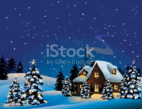 istock An illustration of a snowy Christmas night 165612315