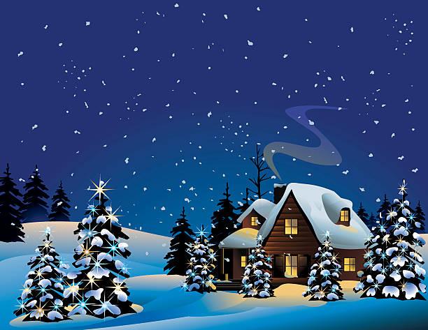 stockillustraties, clipart, cartoons en iconen met an illustration of a snowy christmas night - christmas cabin