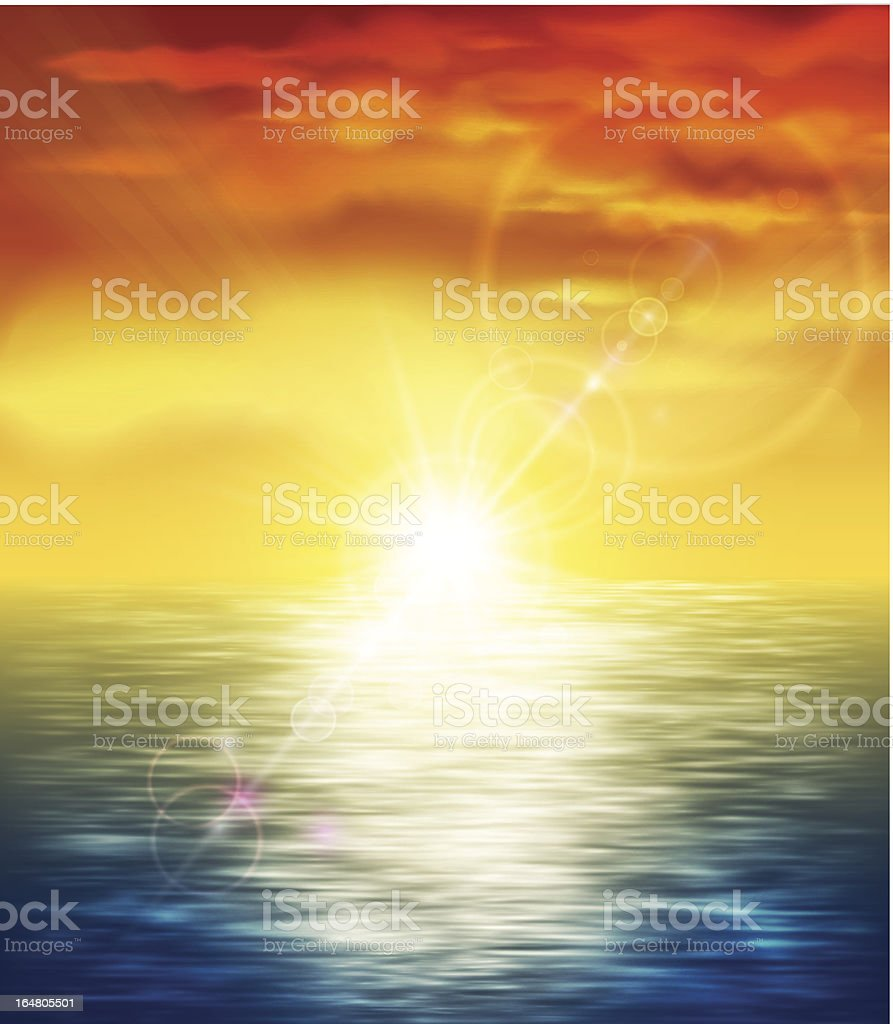 An illustration of a sunset at the sea with lens flare royalty-free stock vector art