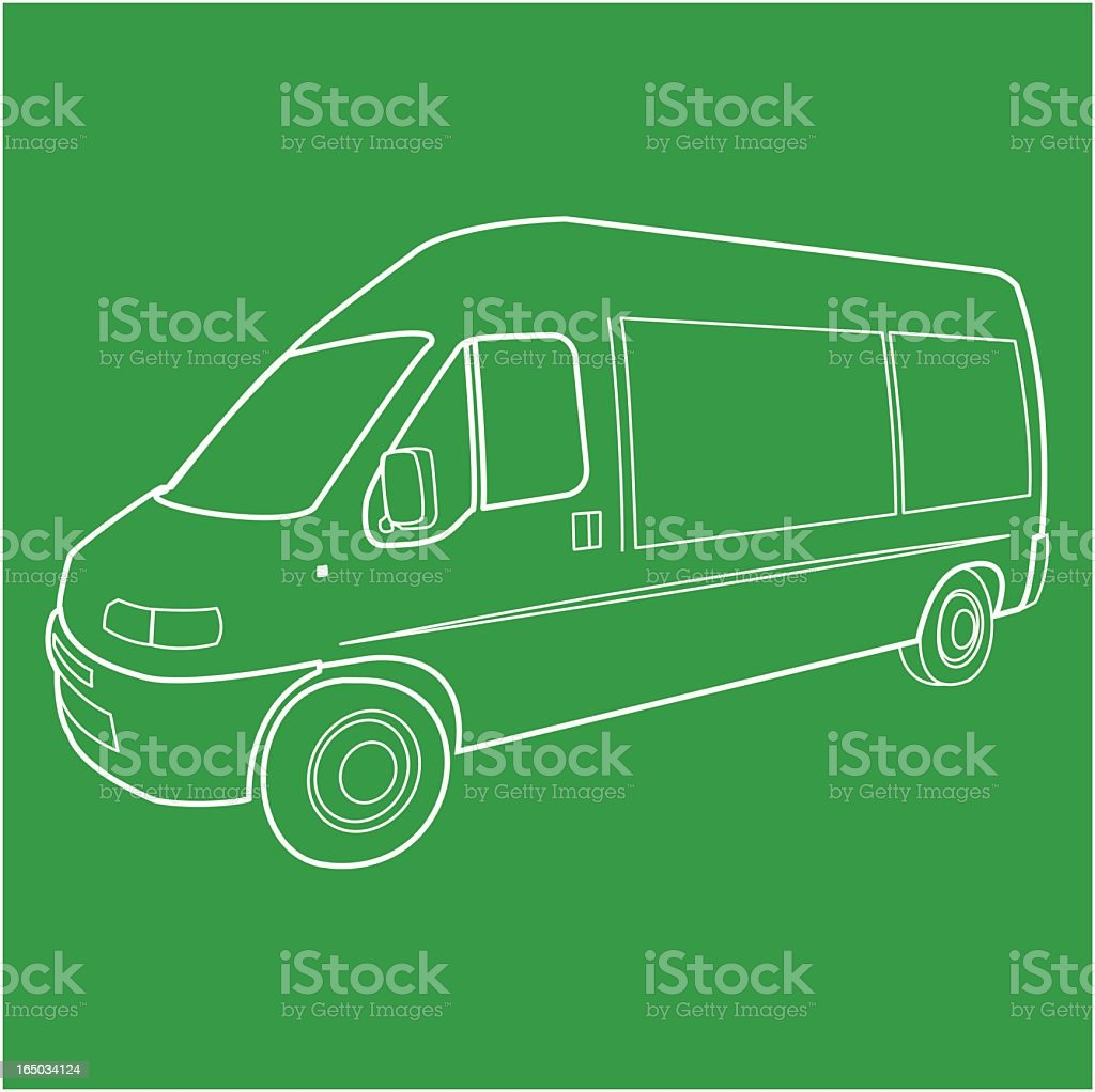 An illustration of a van on a green background royalty-free an illustration of a van on a green background stock vector art & more images of cargo container