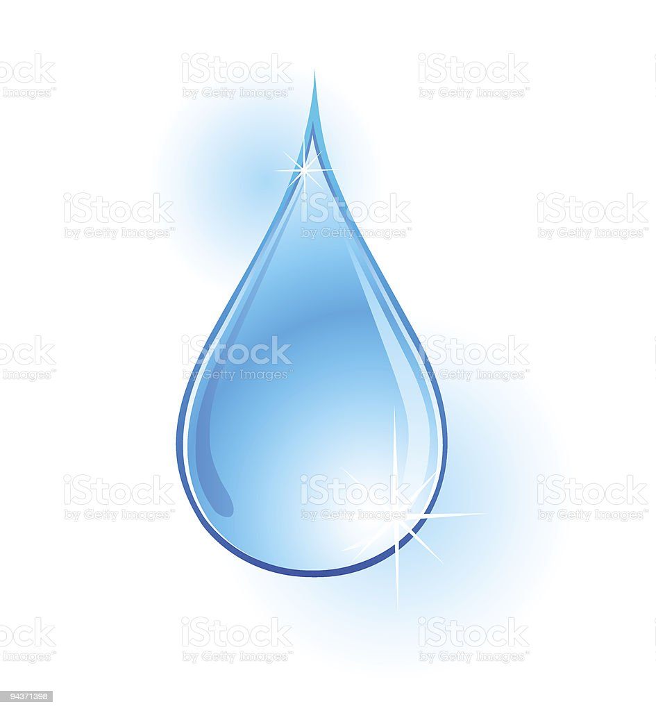 An illustration of a water drop on a white background royalty-free stock vector art