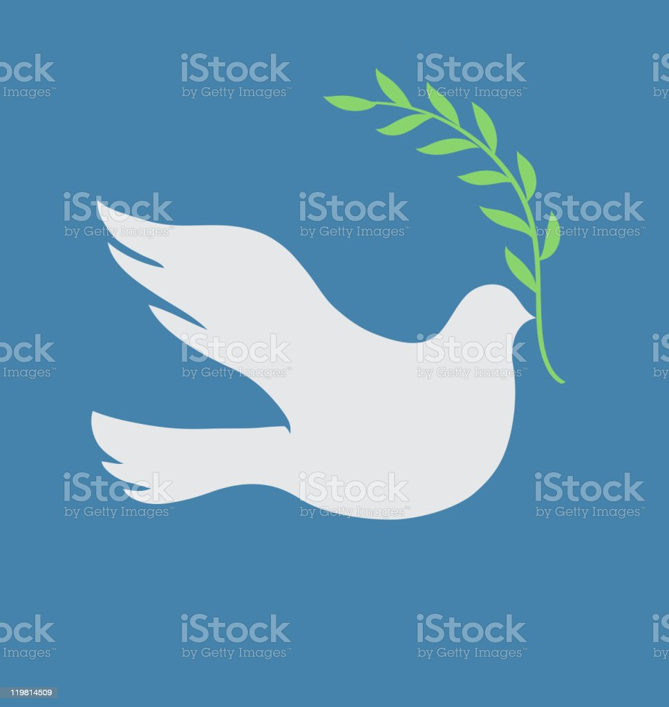 An illustration of a white dove carrying twine royalty-free stock vector art
