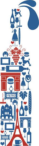 フランスワイン - フランス料理点のイラスト素材/クリップアート素材/マンガ素材/アイコン素材