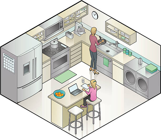 An illustration of a woman cooking in the kitchen vector art illustration