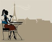 A cute girl drinking coffee in Paris. Click below for more travel and food and drink images.