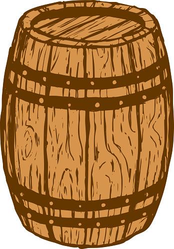 An illustration of a wood barrel