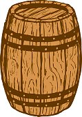sketchy illustration of a wood barrel